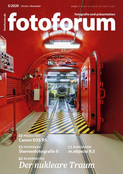 fotoforum Magazin. Fotozeitschrift. Cover Ausgabe 5/2020. Reaktor, Kraftwerk Fukushima, Atomenergie, Kernenergie. Themen: Der nukleare Traum. Canon EOS R5. Sternenfotografie II. m.objects 9.5