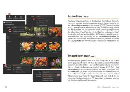 Crashkurs Capture One. Buch Bildbearbeitung fotoforum. Blick ins Buch, Leseprobe. Importieren aus, importieren nach.