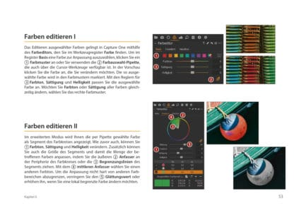 Crashkurs Capture One. Buch Bildbearbeitung fotoforum. Blick ins Buch, Leseprobe. Farben editieren I, Farben editieren II.