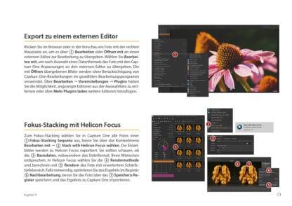 Crashkurs Capture One. Buch Bildbearbeitung fotoforum. Blick ins Buch, Leseprobe. Export zu einem externen Editor, Fokus-Stacking mit Helicon Focus.